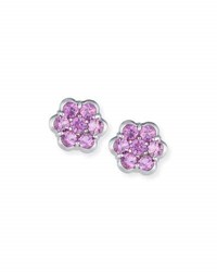 Bayco Platinum And Pink Sapphire Floral Stud Earrings