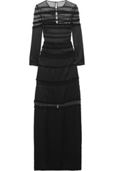 Temperley London Embellished Silk And Mesh Gown Black