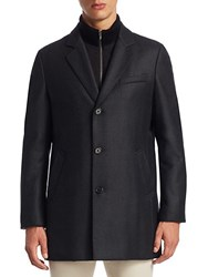 Saks Fifth Avenue Collection Notch Wool Topcoat Charcoal