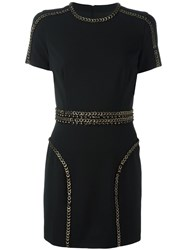 Dsquared2 Fitted Eyelet Detail Dress Black