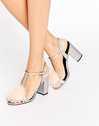 Office Sugar Pom Pom Silver Metallic Block Heeled Sandals Silver Metallic Pu