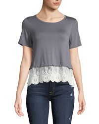 Casual Couture Lace Hem Jersey Tee Gray