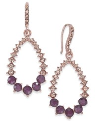 Inc International Concepts I.N.C. Rose Gold Tone Pink Pave And Purple Stone Drop Earrings