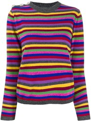 Ganni Multicoloured Knitted Top Grey