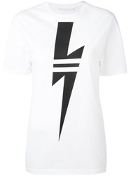 Neil Barrett Lighting Print T Shirt Women Cotton Xxs White