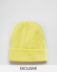 Reclaimed Vintage Oversized Beanie In Yellow Yellow
