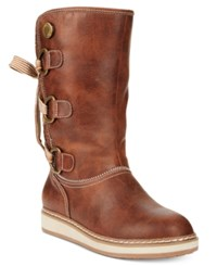 White Mountain Tivia Lace Up Cold Weather Boots Women's Shoes Cognac