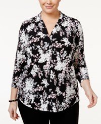 Charter Club Plus Size Floral Print Top Only At Macy's Deep Black Combo