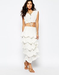 Stevie May Kick Up Your Heels Ruffle Maxi Skirt In White White