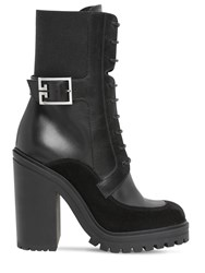 Givenchy 120Mm Leather And Suede Lace Up Boots Black
