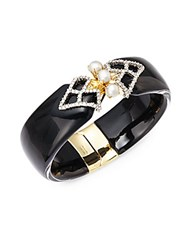 Alexis Bittar Lucite Faux Pearl Swarovski Crystal And 10K Yellow Gold Hinged Bracelet Black