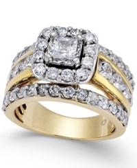 Macy's Diamond Halo Engagement Ring 3 Ct. T.W. In 14K Gold Yellow Gold