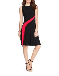 Lauren Ralph Lauren Petite Fit And Flare Jersey Dress Black Matador Red