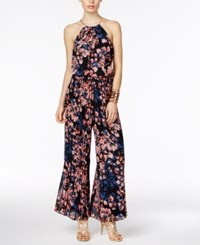 Thalia Sodi Floral Print Halter Jumpsuit Only At Macy's Deep Black