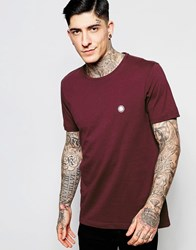 Pretty Green T Shirt In Slim Fit With Pg Logo In Burgundy Red