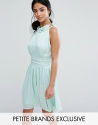 Little Mistress Petite Ruched Pleated Mini Prom Skater Dress Mint Green