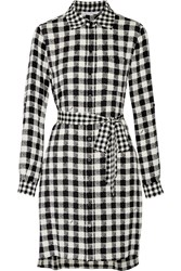 Diane Von Furstenberg Prita Gingham Silk Blend Shirt Dress White