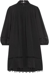 Apiece Apart La Sierra Pleated Silk Crepe De Chine Mini Dress Black
