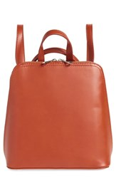 Street Level Structured Faux Leather Backpack Orange