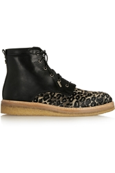 Jimmy Choo Halden Leopard Print Raffia And Leather Ankle Boots