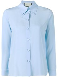 Gucci Buttoned Long Sleeve Shirt Blue
