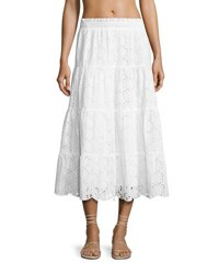 Tory Burch Broderie Anglaise Smocked Coverup Peasant Skirt White