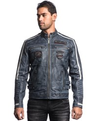 Affliction American Rebel Leather Jacket Pacific Blue