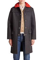 Marc By Marc Jacobs Norman Bonded Wool Peacoat Caviar Grey Melange