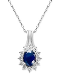 Macy's Sapphire 9 10 Ct. T.W. And Diamond Accent Pendant Necklace In 10K White Gold