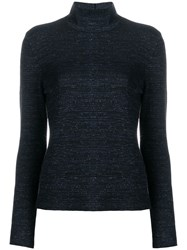 Nude Metallic Stitch Knitted Top Blue