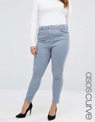 Asos Curve High Waist Ridley Skinny Jeans In Nevaeh Light Grey Blue