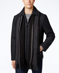 Calvin Klein Men's Wool Blend Coat With Removable Scarf Charcoal