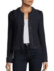 L'agence Devereaux Leather Whipstitch Jacket Navy