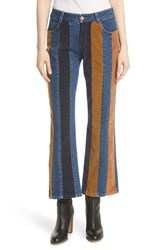 See By Chloe Paneled Crop Flare Jeans Multicolor 1 9Ca