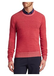 Saks Fifth Avenue Modern Ribbed Crewneck Cotton Sweater Red Grey