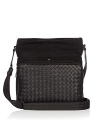 Bottega Veneta Canvas And Intrecciato Leather Messenger Bag Black