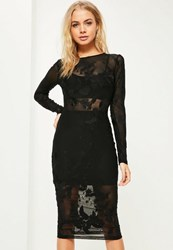 Missguided Black Mesh Long Sleeve Bandage Midi Dress