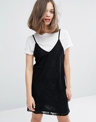 Monki Lace Cami Mini Dress Black