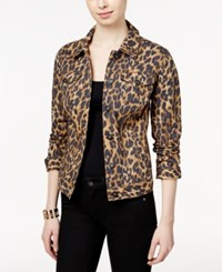 Styleandco. Style And Co. Animal Print Denim Jacket Classic Animal
