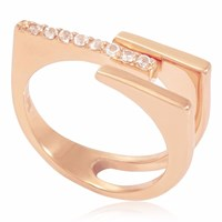 Neola Neringa Rose Gold Stacking Ring With White Topaz
