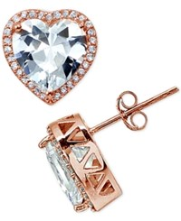 Giani Bernini Cubic Zirconia Halo Heart Stud Earrings In 18K Rose Gold Plated Sterling Silver Created For Macy's