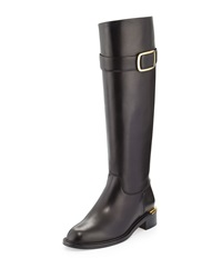 Luxor Calfskin Riding Boot Black Salvatore Ferragamo