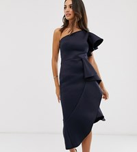 True Violet Exclusive One Shoulder Asymmetrical Midi Dress In Navy
