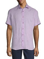 Bertigo Dobby Linen Button Down Shirt Lilac