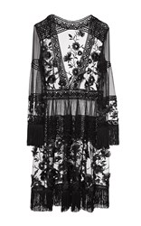 Alberta Ferretti Fringe Trimmed Lace Dress Black