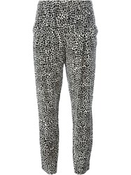 Nili Lotan Leopard Print Tapered Trousers Black