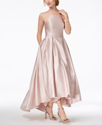 Betsy And Adam Petite Satin High Low Gown Beige