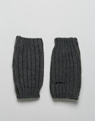 Asos Fingerless Gloves In Charcoal Charcoal Grey