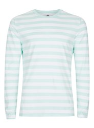 Topman Aqua Blue And White Stripe Long Sleeve T Shirt