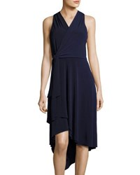 Tahari By Arthur S. Levine Sleeveless Jersey Faux Wrap Dress Navy